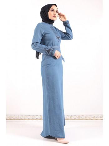 Büyük Beden Nakışlı Kot Elbise TSD0311S Açık