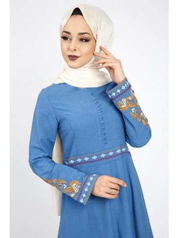 Etnik Desenli Elbise TSD6912S İndigo