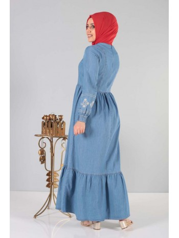 Önü Nakışlı Eteği Pileli Elbise MSN6152 Açık