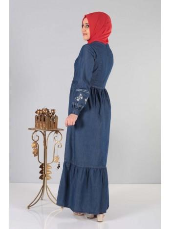Önü Nakışlı Eteği Pileli Elbise MSN6152 Koyu