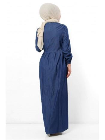 Taş Detaylı Kot Elbise TSD7252 Koyu Mavi