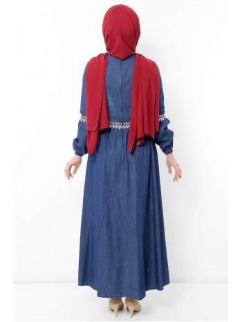 Güpürlü Kot Elbise TSD1802 Koyu Mavi