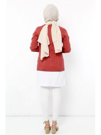 Renkli Boyfriend Kot Ceket TSD0107 Kırmızı