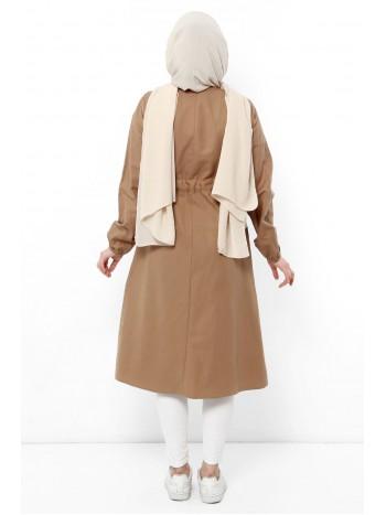 Beli Bağcıklı Tesettür Kap TSD0123 Camel