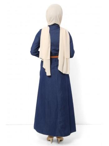 Payetli Kemerli Kot Elbise TSD6145 Koyu Mavi