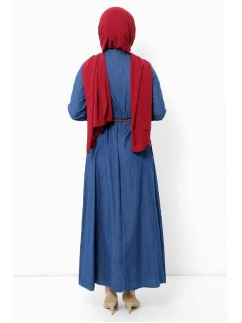 Nakışlı Fırfır Detaylı Kot Elbise TSD9011 Koyu Mavi