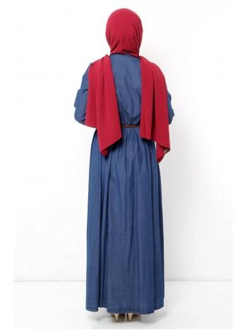 Cep Detaylı Kot Elbise TSD9012 Koyu Mavi