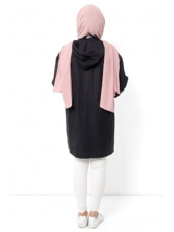 Fermuarlı Kapşonlu Tesettür Ceket TSD0096 Siyah