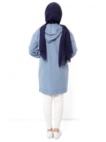 Fermuarlı Kapşonlu Tesettür Ceket TSD0096 Kot Mavisi