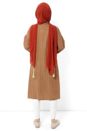 Düğmeli Tesettür Tunik TSD1112 Camel