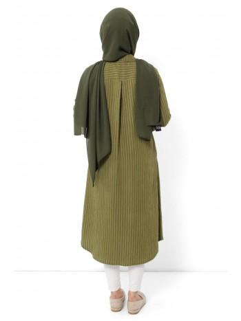 Çizgili Tesettür Tunik TSD1855 Yeşil