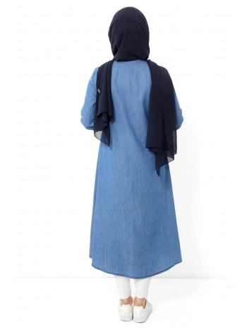 Kolları İncili Kot Tunik TSD6004 Açık Mavi