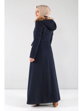 Beli Büzgülü Kaşe Palto MVC804 Lacivert