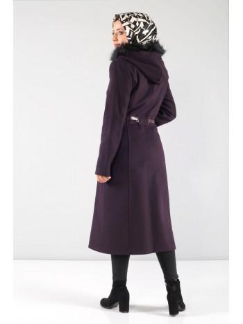 Beli Kemerli Kaşe Palto MVC802K Mor