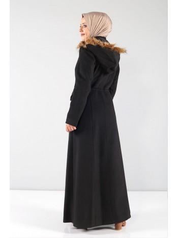 Beli Büzgülü Kaşe Palto MVC804 Siyah