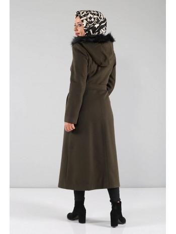 Boydan Düğmeli Kaşe Palto MVC840 Haki