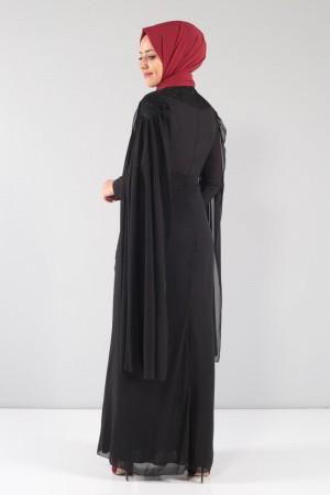 Kolları Pelerinli Dantelli Şifon Abiye TBT8324 Siyah
