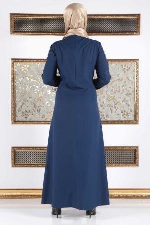 İnci Çakımlı Büyük Beden Elbise TSD15 İndigo