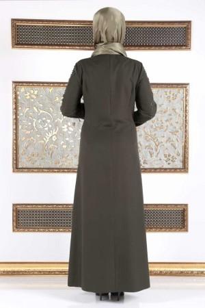 İnci Çakımlı Büyük Beden Elbise TSD15 Haki