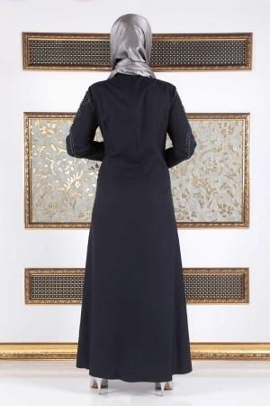 İnci Çakımlı Büyük Beden Elbise TSD15 Lacivert