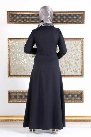 İnci Detaylı Büyük Beden Uzun Elbise TSD17 Lacivert