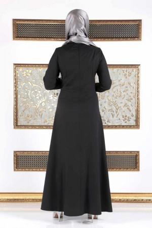 İnci Detaylı Büyük Beden Uzun Elbise TSD17 Siyah