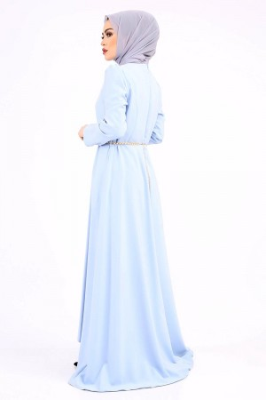 İnci Kemerli Abiye TSD822 Bebe Mavisi