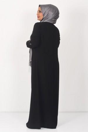 Büyük Beden Yaprak İşlemeli Tesettür Abiye Elbise TSD0024 Siyah