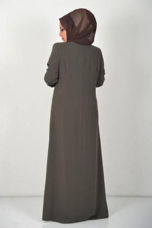 Büyük Beden Yaprak İşlemeli Tesettür Abiye Elbise TSD0024 Haki