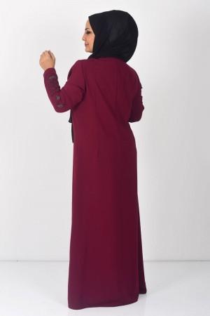 Büyük Beden Yaprak İşlemeli Tesettür Abiye Elbise TSD0024 Şarabi