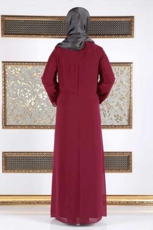 Büyük Beden İncili Şifon Elbise TSD994 Bordo