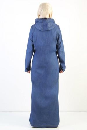 Büyük Beden Tesettür Kot Ferace TSD0891 Koyu Mavi
