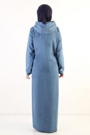 Büyük Beden Tesettür Kot Ferace TSD0891 Açık Mavi