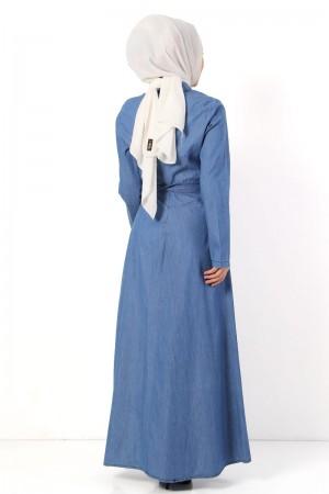 Bebe Yaka Kot Elbise TSD3896 Açık Mavi