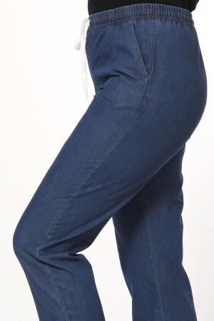 Beli Lastikli Cepli Kot Pantolon TSD1795 Koyu Mavi