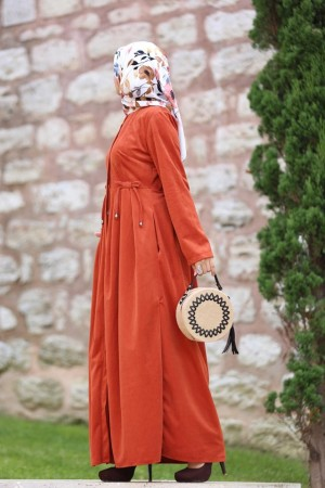 Dress kadife  orange 7047